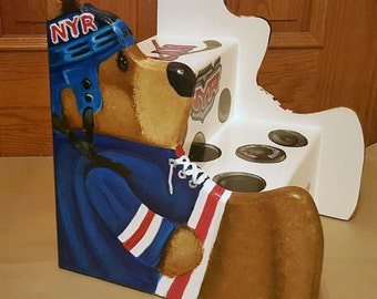 Step Stools, Hockey Step stool,Personalized Kids Furniture, childs stool, bench, Bathroom, Nursery, Teddy Bear sides cut out, wooden, custom