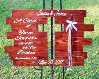 Rustic Cross, Wedding Sign Cross, A Cord Of Three Strands Cross, Country Wedding Cross, Unity Braids® Wedding Cross, Custom Wedding Cross,