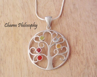 Tree of Life Necklace - Chakra Stones Necklace - 925 Sterling Silver Jewelry