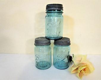 Vintage Aqua Blue Ball Mason Jars with Zinc Lids - Set of Three  - 1 Pint - Antique Ball Mason Jar - Kitchen Storage - Wedding Decor
