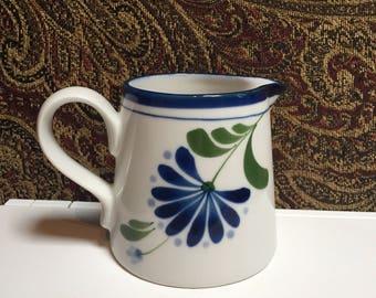 Dansk International Designs Creamer - White with Blue Flower