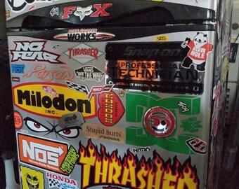 Custom Sticker Bombed Mini-Fridge - Shop / Office / Man Cave