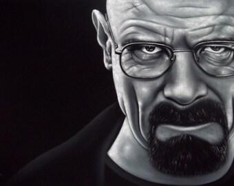 Breaking Bad Walter White black velvet oil painting handpainted signed art