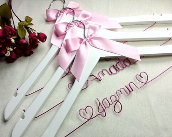 3 White hanger and heart ,Personalized Wedding Hanger,bridesmaid gifts,brides hanger,name hanger,bridal party hangers,custom bridal hanger