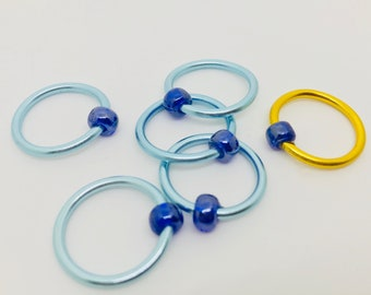 JUMBO Snag Free Stitch Markers - Light Blue and Gold - US 17 (12 mm)