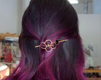 Hair Clip Bun Pin Mini Honeycomb Brass Handmade Hair Bun Slide Pin // hair clip // hair barrette // pony tail holder