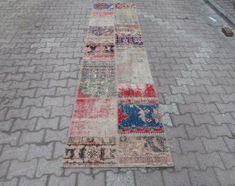 2.7x11.5 Ft Vintage decorative Turkish patchwork runner rug
