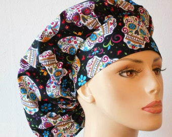 Folkloric Skulls Scrub Scrub Hats-Bouffant Scrub Hat-Scrub Caps-Scrub Hat-Medical Scrub Hat-Holiday Scrub Hats-Womens Scrub Hat-SilverCaps