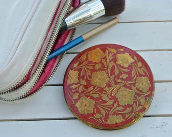 Beeswax Perfume, Rex Fifth Avenue Powder Compact, Perfume Compact, Raised Pansies Brass Red Enamel Compact, Solid Perfume, Vintage Compact