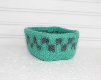 Small Wool Basket Mint Green and Gray, Knit Felt Storage Basket, Boiled Wool Mini Storage Basket, Green Gray Storage Container, Square Bowl