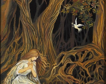 The Key 8x10 Fine Art Print Pagan Mythology Symbolism Brothers Grimm Fairy Tale Forest Goddess Art