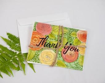 Thank You Cards Set of Four Original Artwork (WaterColor)