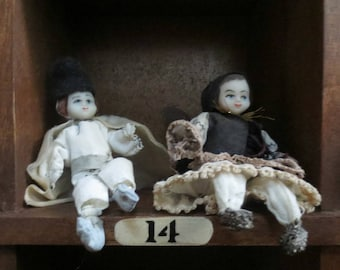 2 Tiny Vintage Peasant Seated Figurines, China Heads, Hand-painted Faces, Russian?