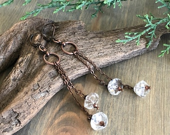 Herkimer Diamond Earrings , raw quartz crystal jewelry