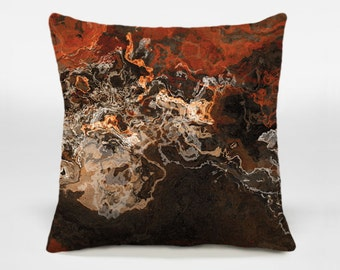Abstract art decorative pillow cover, 16x16 and 18x18 dark red and brown accent pillow cover, throw pillow, Hammered Copper