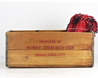 Rustic Wood Crate, Vintage Wood Crate, Wood Crate, Wooden Crate, NuWay Drug Service Wood Crate, Pharmacy Wood Crate, Omaha-Sioux City Crate