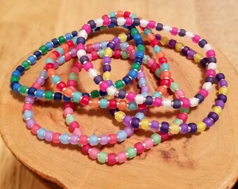 Colorama multicolor bright summer set of six stretchy seed bead bracelets available in five different sizes