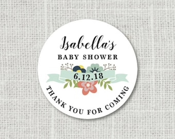 Floral Baby Shower Stickers, Baby Party Stickers, Baby Shower Stickers For Favors Thank You Stickers Baby Party Labels Shower Envelope Seals