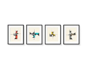 CUBIST Series - 8x10 Version - Collection of (4) Giclee Prints - Mid Century Modern