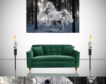 Pegasus Winged Flying Horse Forest Snow Fantasy Giant Poster in 8 or 4 Pieces Wall Art Print
