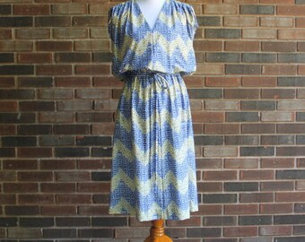1970s Blue and Yellow Abstract Day Dress