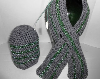 Men's Keyhole Scarf and matching Beanie Hat Crochet with Red Heart's Reflective Yarn by Kams-store.com