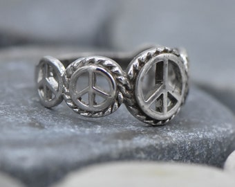 Sterling Silver Peace Ring
