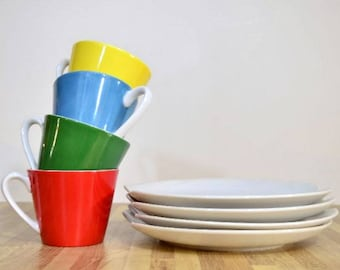 Vintage Ceramic Lefton China Hand Painted Snack Set: Set of Four Colors of the Rainbow Yellow Blue Green Red Cups with White Sandwich Plates