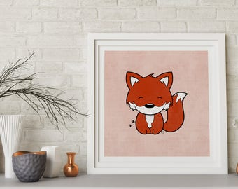 Happy Fox Limited Edition Art Print | Kawaii | Cute | Giclee | Illustration