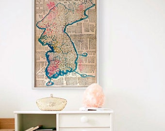 """Map of Korea 1822, Old Korea map, 4 sizes up to 36x54"""" (90x140 cm) Historical map of South Korea, North Korea - Limited Edition of 100"""