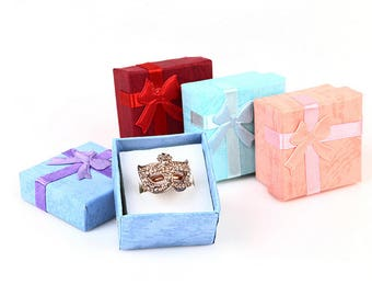Square Jewelry Small Gift Box, Paper Ring Box with Ribbon, Rings Organizer,Ring Display,Earrings Storage,1Pc,4*4cm,Free Shipping,WORLDWIDE