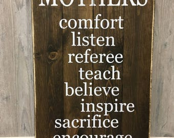 Mother's Day Gift/ Mom Rustic Wood Sign/ Mother's Day Wood Sign/ Gift for Mom/ Rustic Wood Sign