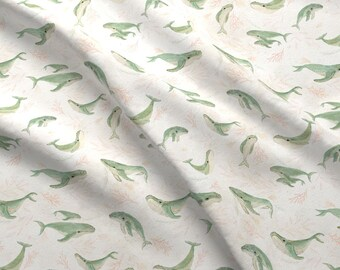Watercolor Humpback Whales Fabric - Humpback Pod {Small} By Katherine Quinn - Whales Pod Coral Cotton Fabric By The Yard With Spoonflower