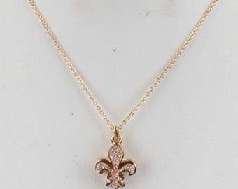 Druzy Fleur De Lis Necklace Gold/Pink