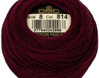 DMC 814  Perle Cotton Thread  | Size 8 | Dark Garnet