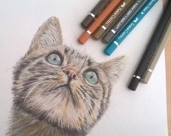 Custom Pet Portrait/ A3/A4/A5/dog portrait/horse portrait/cat portrtait/any animal portrait/hand drawn art/colour pencil portrait/gift