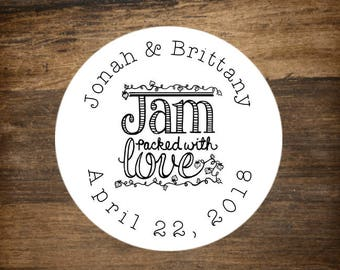 "Wedding stickers, set of 30, personalized favor labels, 1.5"" round stickers, bridal shower favor, party favor stickers, Jam Packed with Love"
