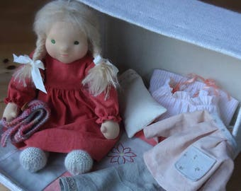 Waldorf doll, blond, green eyes, cloth doll, natural doll