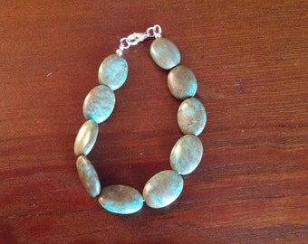 Handbeaded Bracelet with Turquoise Stone Beads, Jewelry