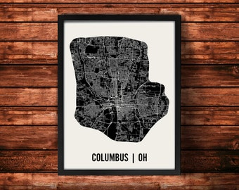 Columbus Map Artwork | Map of Columbus | Columbus Ohio Map | Columbus City Map | Columbus Poster | Columbus Wall Art Print