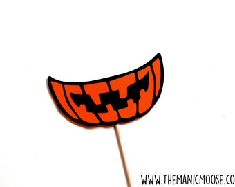 Halloween Photo Booth Props - Halloween Party Props - Jack O' Lantern Grin