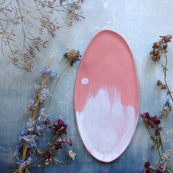 Pink and white stoneware platter