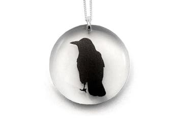 Round Crow Pendant (Chain sold separately)