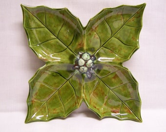 Ceramic Poinsettia Candy/nut tray Divider Tray