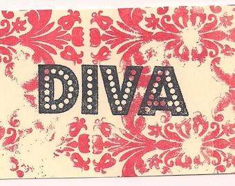 DIVA word Unmounted Rubber Stamp altered art scrapbooks