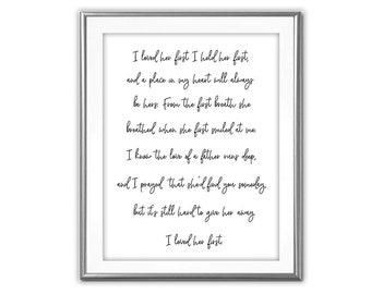 SALE- I Loved Her First Song Lyrics-Digital Print-Wall Art-Digital Designs-Typography- Printable- Literature Print-Country Music Lyrics