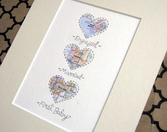 Maps Art Small 5x7 Size with Matting - Personalized Anniversary or Wedding Gift - Design #43