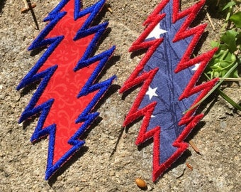 SALE!  U.S. Blues 13 point lightning bolt handmade Grateful Dead patch, iron on.  Wave it wide and high. red/blue, Jerry Garcia, upcycled