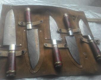 Damascus handmade chef set 5 pieces