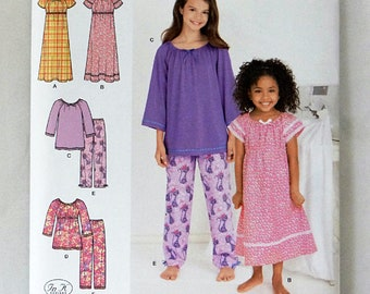 Simplicity 1722 Easy to Sew Childs Loungewear Uncut Sewing Pattern Sizes 3 to 6 Long Nightgown Pajama Top and Pants Copyright 2012